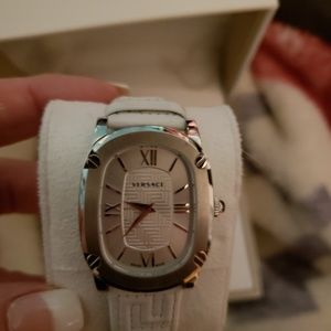 Versace watch white leather band